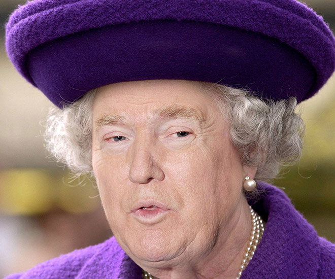 Trump photoshopped as Queen.