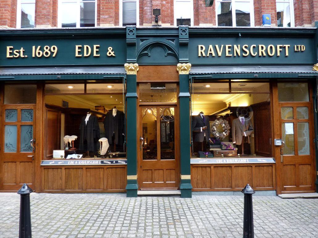Ede & Ravenscroft entrance at Chancery Lane, London