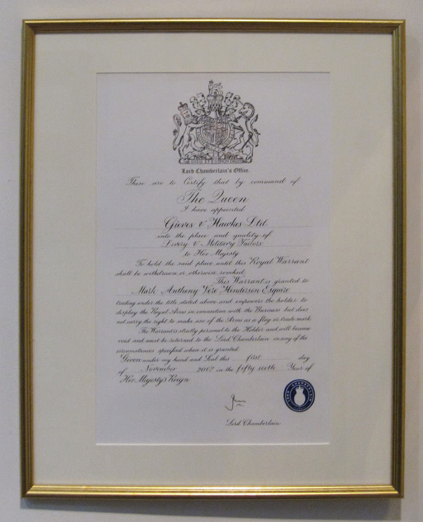 The Royal Warrant issued for Gieves & Hawkes