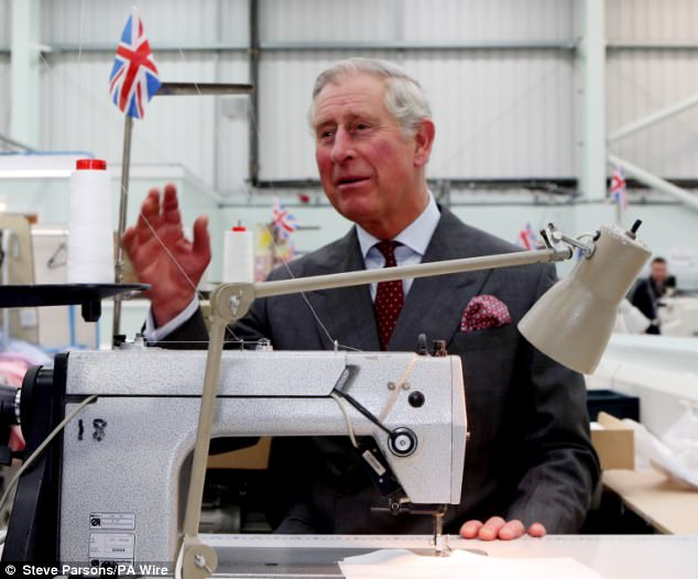 The Prince of Wales also tries his skill at Turnbull & Asser factory