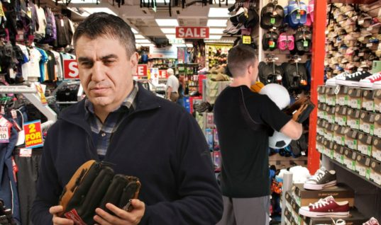 Everyone In Sporting Goods Store Looking For Something To Get On Stepson's Good Side