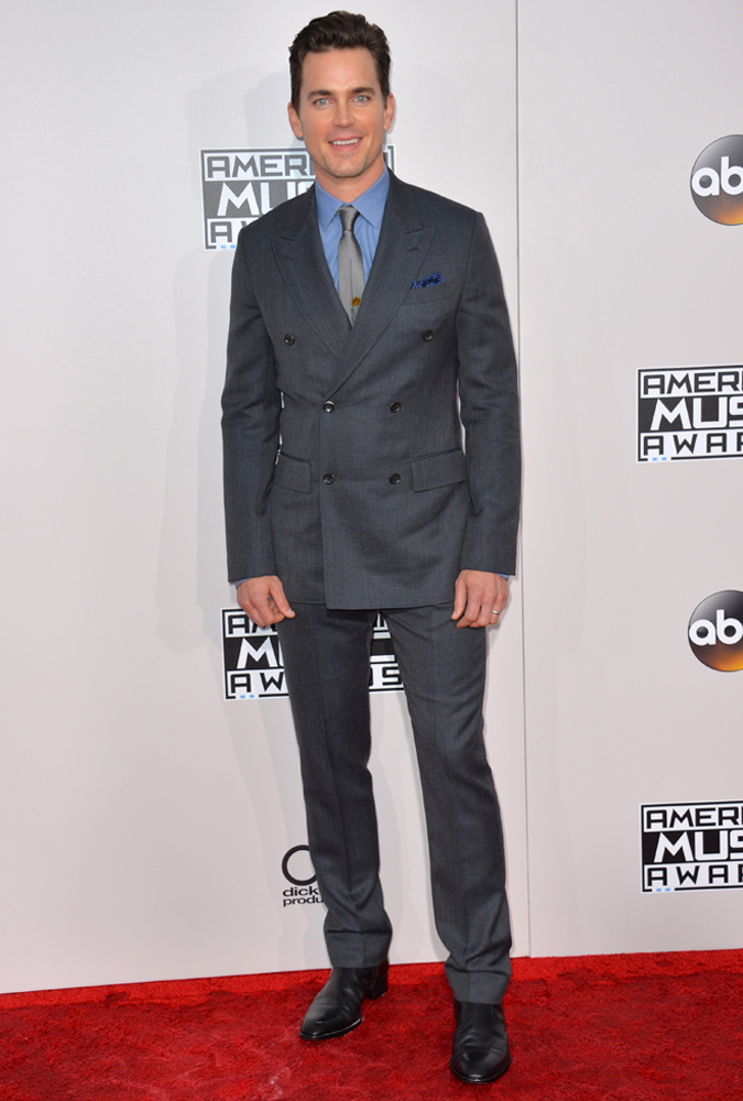 Matt Bomer Wearing A Grey Double Breasted Suit