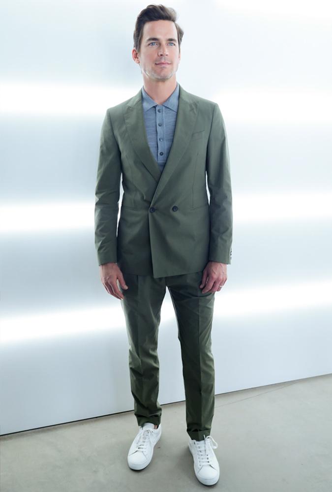Matt Bomer Wearing A Green Suit
