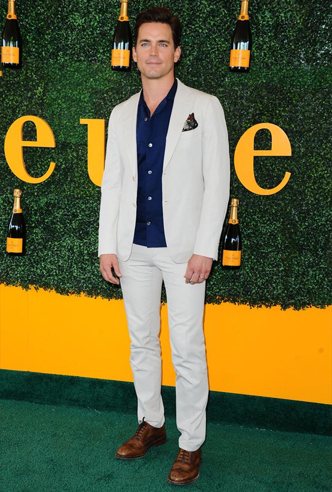 Matt Bomer Wearing A Cream Suit