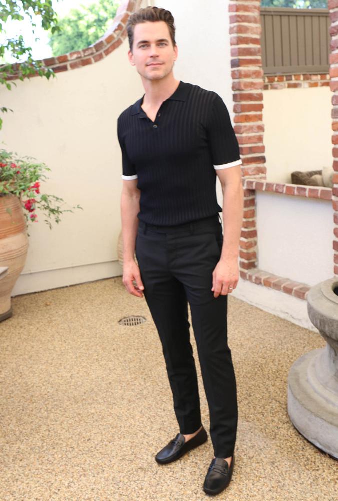 Matt Bomer Wearing A Black Polo Shirt