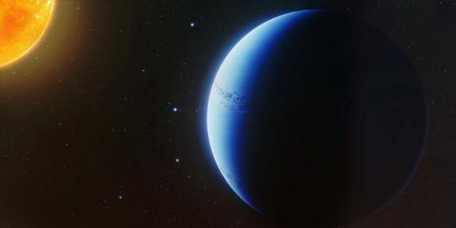 This is an artistic visualization of the exoplanet WASP-96b, which appears blue.