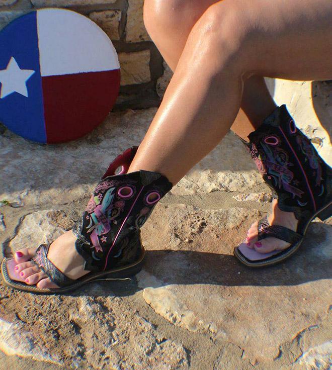 Cowboy boot sandals.
