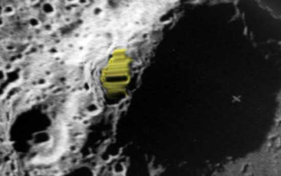 Zeeman crater on the opposite side of the moon, rectangular structure