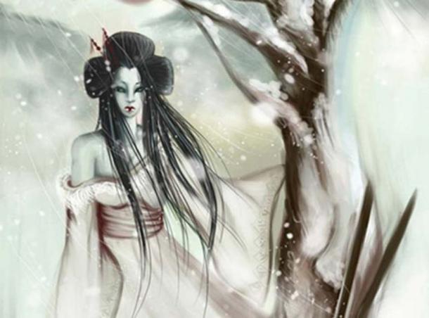 Detail of a modern illustration of Yuki-onna. (CC BY SA)