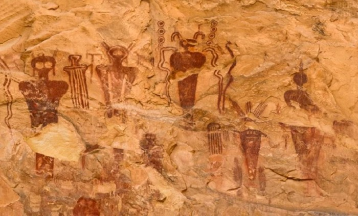 Mysterious frescoes depicting fantastic creatures found in the Sahara