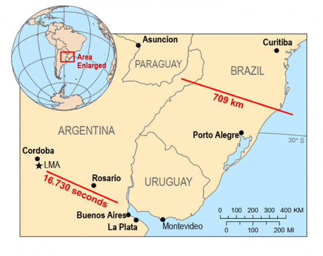 Record: a lightning bolt traveled 700 kilometers in Brazil and another lasted 16 seconds in Argentina 37