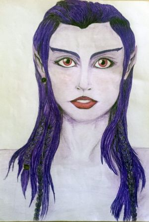 A drawing by Lea Kapiteli, 22, of an ET she says she met.
