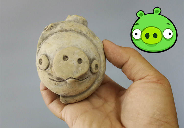 Millennial figurine found in China looks like a pig from the game Angry Birds 31