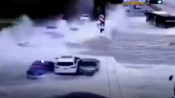 Giant tidal waves sweep cars off the road in China 96