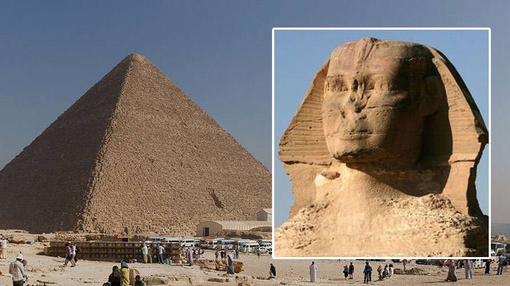 Great Pyramid.  Great Sphinx.