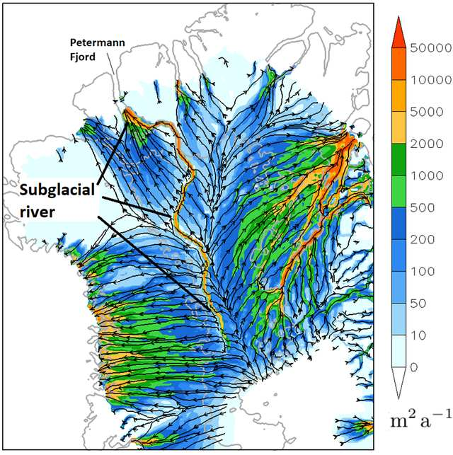 """A mysterious """"dark river"""" flows for 1,000 km under Greenland 38"""