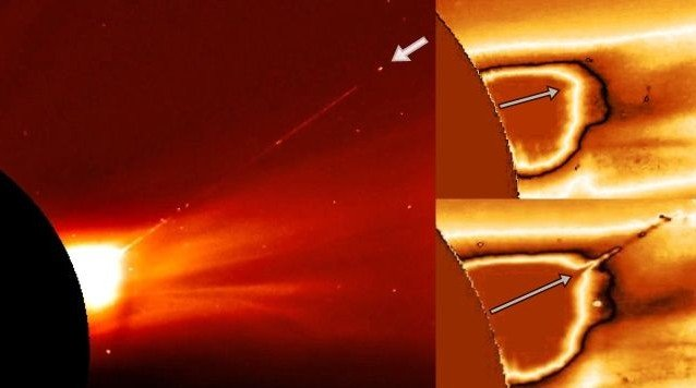 Alien Spaceship exits the Sun and leaves behind a huge plasma trail 35