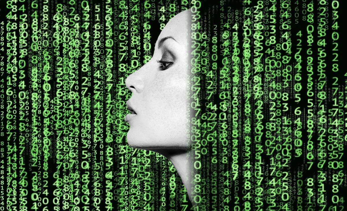 woman with binary codes representing transhumanism