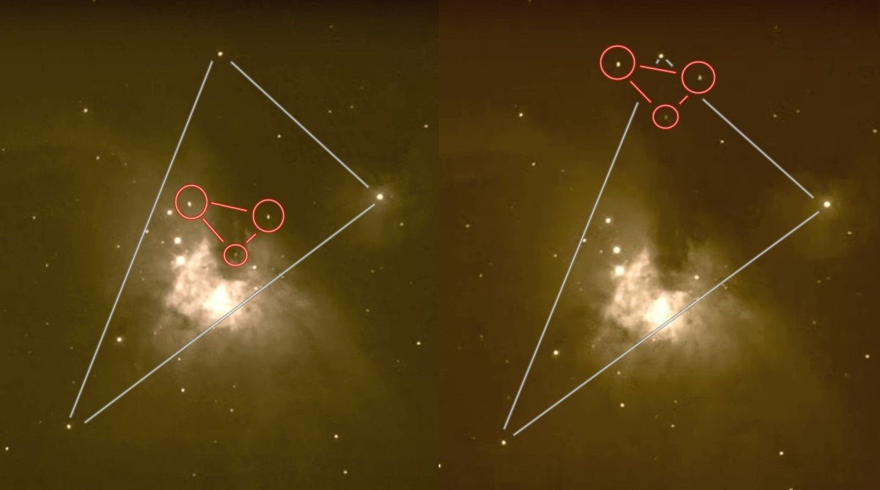 Three huge UFOs recorded as they pass through the Orion Nebula 37