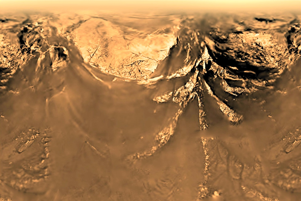 The rugged landscape of Titan, captured by the Hyugens probe from a height of 10 kilometers